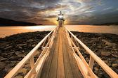 在 sunset2 的灯塔 — 图库照片