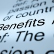 Stock Photo: Benefits Definition Closeup Showing Bonus Perks Or Rewards