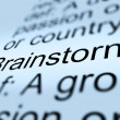 Foto Stock: Brainstorm Definition Closeup Showing Research Thoughts