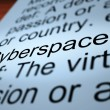 Cyberspace Definition Closeup Showing Online Networks — Stock Photo