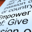 Empower Definition Closeup Showing Authority Or Power — Stock Photo