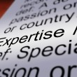 Expertise Definition Closeup Showing Skills Or Proficiency — Stock Photo