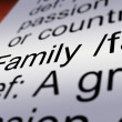 Family Definition Closeup Showing Mom Dad Unity — Stock Photo