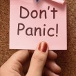 Don't Panic Note Means No Panicking Or Relaxing - Stock Photo