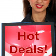 Royalty-Free Stock Photo: Hot Deals Computer Message Representing Discounts Online