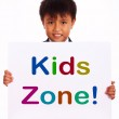 Kids Zone Sign Shows Children's Play Area — Stock Photo