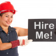 Stock Photo: Hire Me Sign With Construction Worker Showing Careers
