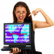 Stock Photo: Girl With Cyberspace Screen Showing Internet