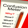 Confusion Meter Shows Indecision And Dilemma — Stock Photo