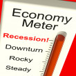 Economy Meter Showing Recession and Downturn - Stock Photo