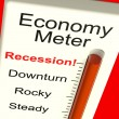 Stock Photo: Economy Meter Showing Recession and Downturn