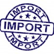 Stock Photo: Import Stamp Showing Importing Goods