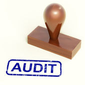 Audit Rubber Stamp Shows Financial Accounting Examination — Stock Photo