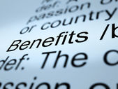 Benefits Definition Closeup Showing Bonus Perks Or Rewards — Foto Stock