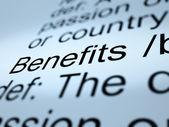 福利定义特写显示奖金补贴或奖励 — 图库照片