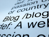 Blog Definition Closeup Showing Website Blogging Or Blogger — Stock Photo