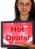 Hot Deals Computer Message Representing Discounts Online — Stock Photo