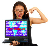 Girl With Cyberspace Screen Showing Internet — Stock Photo
