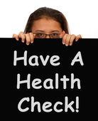 Message de vérification de santé montrant l'examen médical — Photo