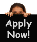 Apply Now Sign For Work Application — Stock Photo