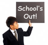 School's Out Sign Shows Holiday From Classes — Stock Photo