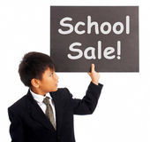 School Sale Sign Shows Student Discounts — Stock Photo