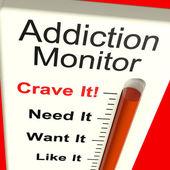 成瘾监视器显示的渴望和药物滥用 — 图库照片