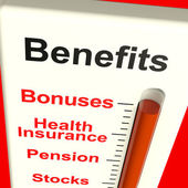 Benefits Meter Showing Bonus Perks Or Rewards — Zdjęcie stockowe