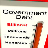 Government Debt Meter Showing Nation Owing Billions — Stock Photo