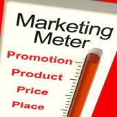Medidor de marketing com produto e promoção — Foto Stock