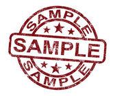 Próbki pieczęć pokazuje przykład symbolu lub smak — Zdjęcie stockowe