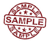 Sample Stamp Shows Example Symbol Or Taste — Stockfoto