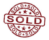 Sold Stamp Shows Selling Or Purchasing — Stock Photo