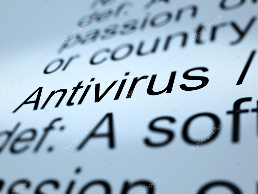 Antivirus Definition Closeup Shows Computer System Security — Stock Photo #10999595