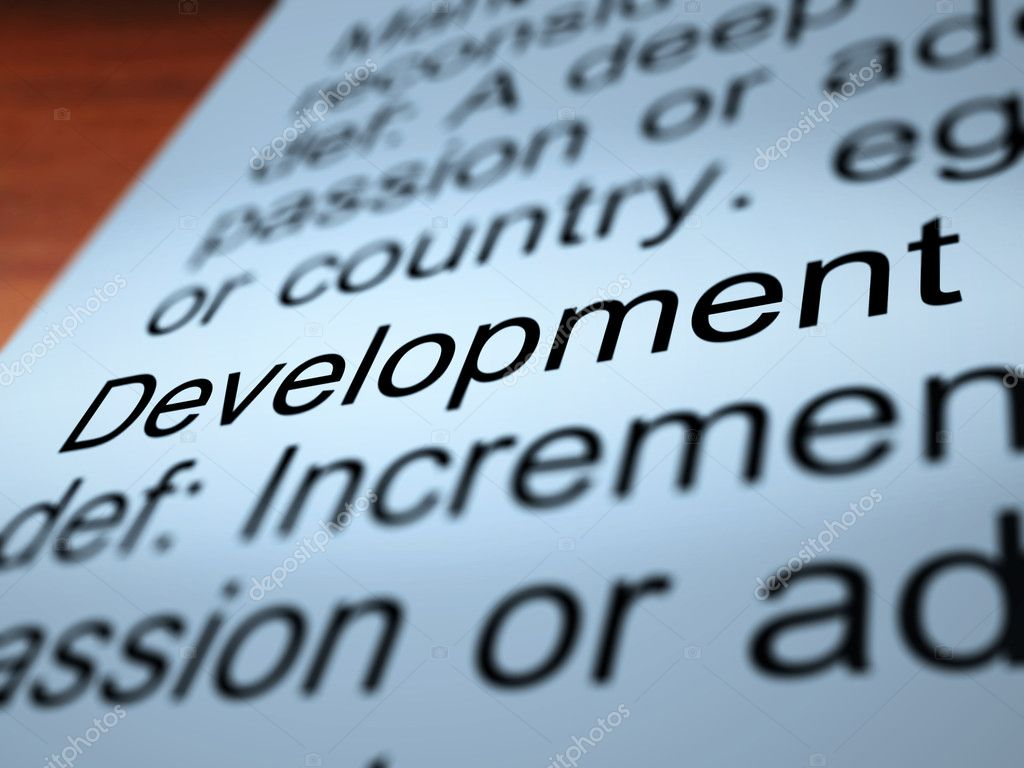 Development Definition Closeup Shows Improvement Growth Or Advancement — Lizenzfreies Foto #10999639