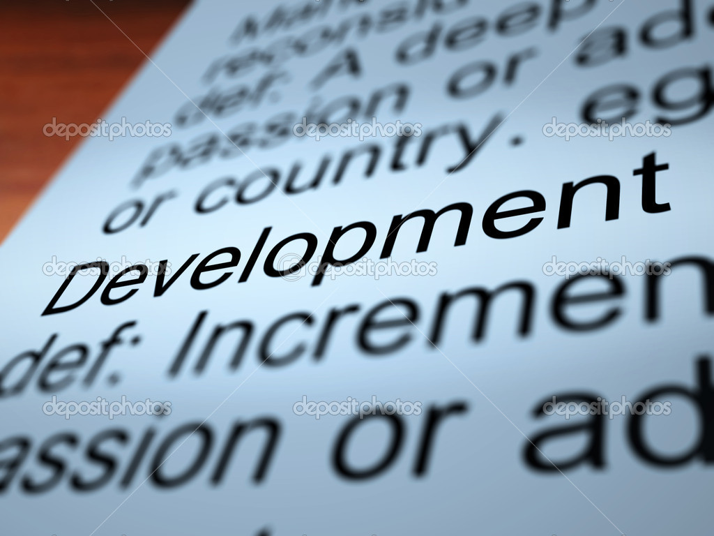 Development Definition Closeup Shows Improvement Growth Or Advancement — Stock Photo #10999639