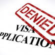 Stock Photo: VisApplication Denied Stamp Shows Entry Admission Refused