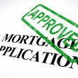 Mortgage Application Approved Stamp Shows Home Loan Agreed - Foto Stock