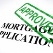 Mortgage Application Approved Stamp Shows Home Loan Agreed - Stockfoto