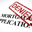 Stock Photo: Mortgage Application Denied Stamp Shows Home Finance Refused