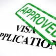 Stock Photo: VisApplication Approved Stamp Shows Entry Admission Authorized
