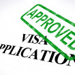 Visa Application Approved Stamp Shows Entry Admission Authorized — Stock Photo #11000076