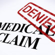 Medical Claim Denied Stamp Shows Unsuccessful Medical Reimbursem — Stock Photo
