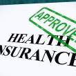 Health Insurance Approved Form Shows Successful Medical Applicat — Стоковое фото