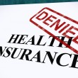 Stock Photo: Health Insurance Denied Form Shows Unsuccessful Medical Applicat