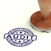 Auditoria selo mostra exames de contabilidade financeira — Foto Stock