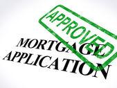 按揭贷款申请批准同意的邮票展示居所贷款 — 图库照片