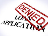 Loan Application Denied Stamp Shows Credit Rejected — Stock Photo