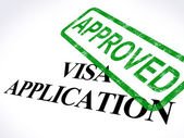 Visa Application Approved Stamp Shows Entry Admission Authorized — Stock Photo