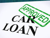 Car Loan Approved Stamp Shows Auto Finance Agreed — Stock Photo